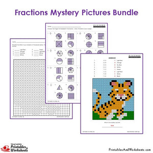 Grade 3 Fraction Mystery Pictures Coloring Worksheets - Tiger
