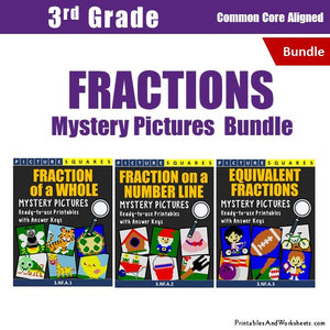 Grade 3 Fraction Mystery Pictures Coloring Worksheets