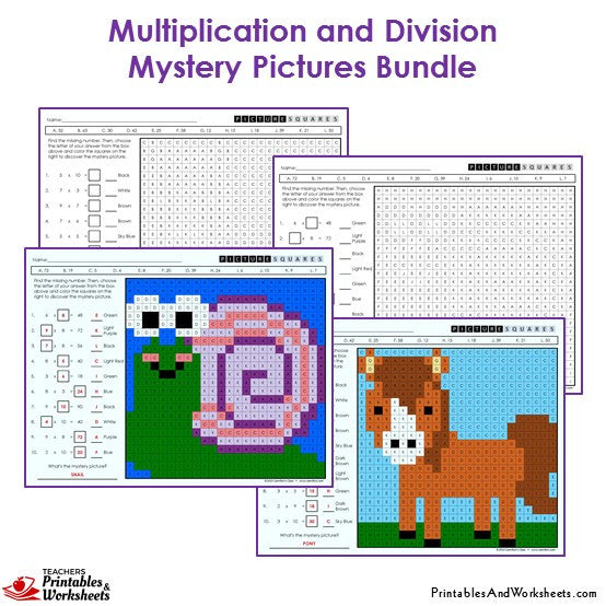 3rd Grade Multiplication and Division Mystery Pictures Coloring Worksheets - Snail, Horse