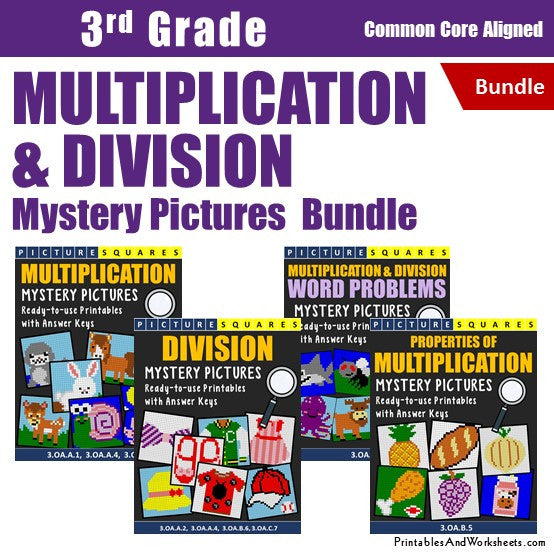 3rd Grade Multiplication and Division Mystery Pictures Coloring Worksheets Bundle