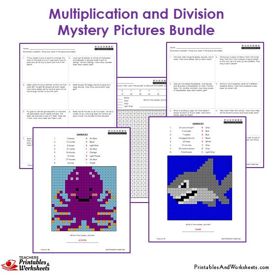 3rd Grade Multiplication and Division Mystery Pictures Coloring Worksheets - Octopus, Shark