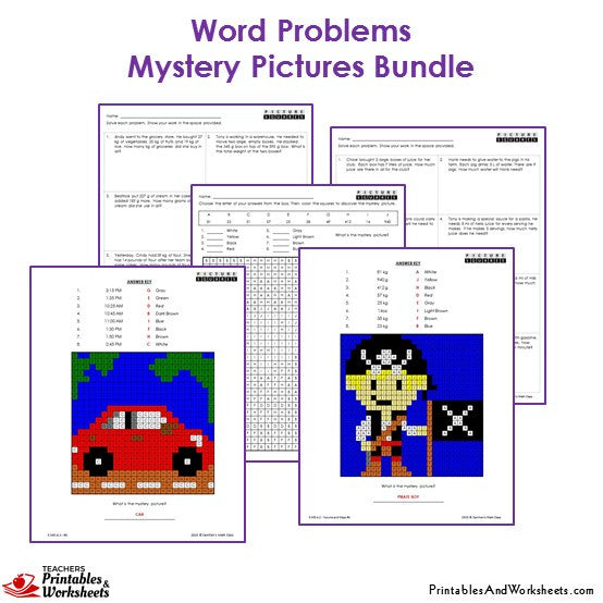3rd Grade Story Worksheets : Rd grade word problems mystery pictures coloring