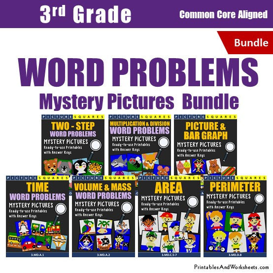 Grade 3 Math Word Problems Coloring Worksheets Bundle