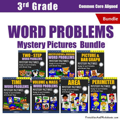 3rd Grade Word Problems Mystery Pictures Coloring Worksheets Bundle