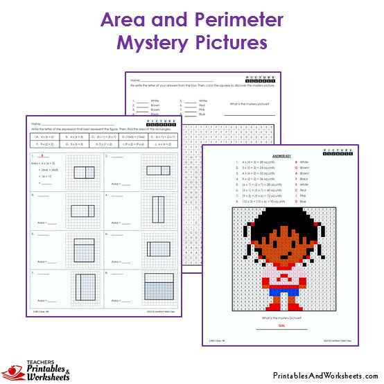 3rd Grade Area and Perimeter Mystery Pictures Coloring Worksheets - Girl