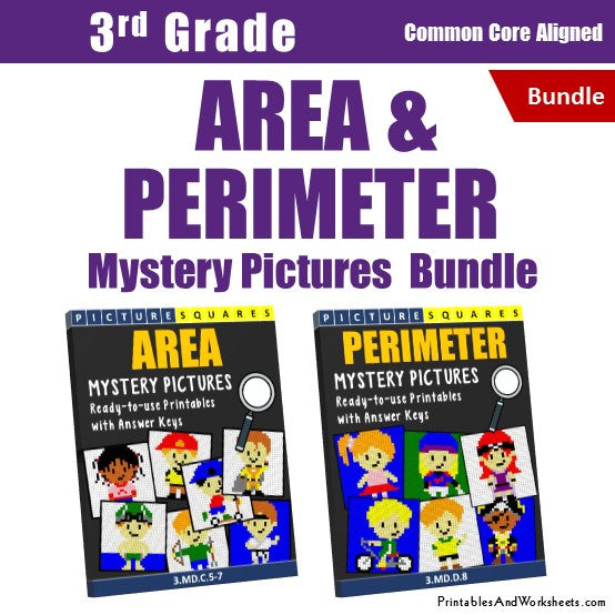 3rd Grade Area and Perimeter Mystery Pictures Coloring Worksheets