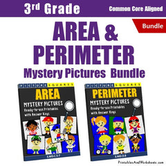 3rd Grade Area and Perimeter Mystery Pictures Coloring Worksheets Bundle