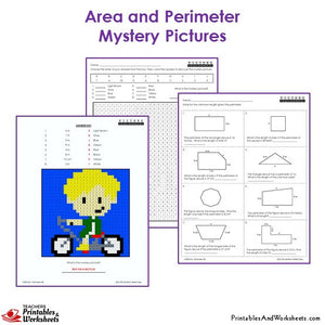 3rd Grade Area and Perimeter Mystery Pictures Coloring Worksheets - Boy on a Bike