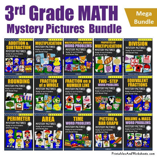 3rd Grade Math Mystery Pictures Coloring Worksheets Mega Bundle