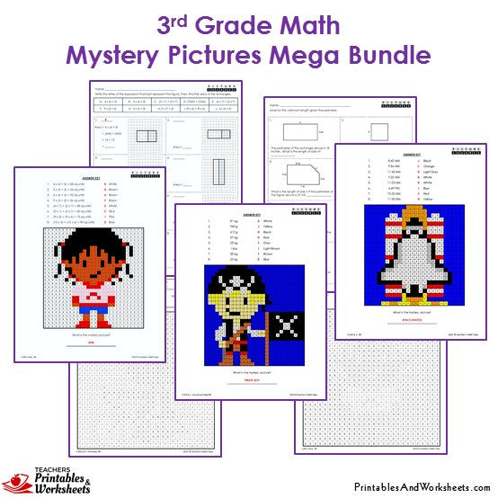 3rd Grade Math Mystery Pictures Coloring Worksheets - Sample 1