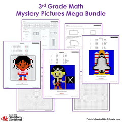 3rd Grade Math Mystery Pictures Coloring Worksheets Bundle