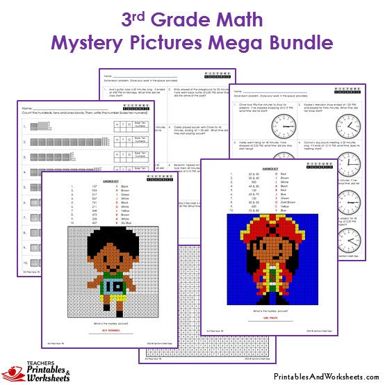 3rd Grade Math Mystery Pictures Coloring Worksheets - Sample 2