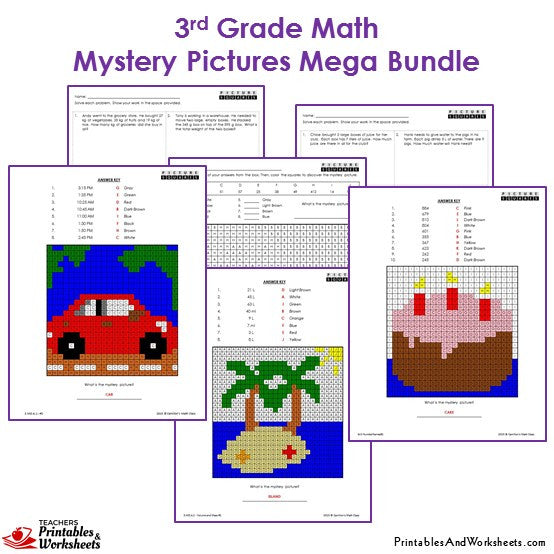 3rd Grade Math Mystery Pictures Coloring Worksheets Bundle – Mystery Picture Math Worksheets