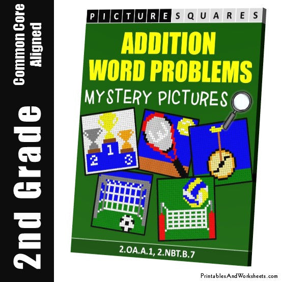 Grade 2 Addition Word Problems Mystery Pictures Coloring Worksheets