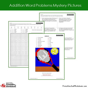 Grade 2 Addition Word Problems Mystery Pictures Coloring Worksheets Sample 1