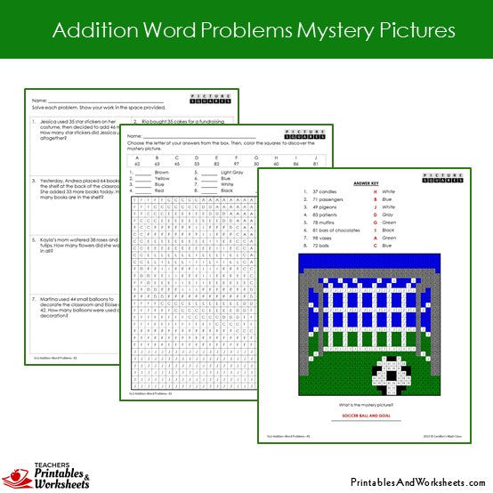 Grade 2 Addition Word Problems Mystery Pictures Coloring Worksheets Sample 2