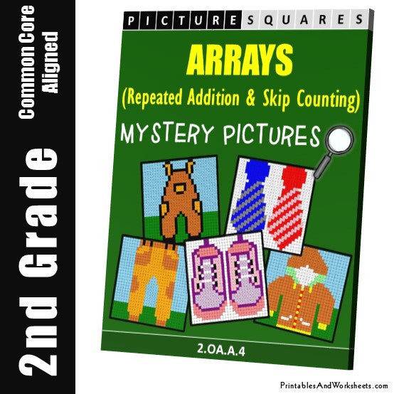 Grade 2 Arrays Mystery Pictures Coloring Worksheets