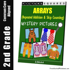 2nd Grade Addition Array Mystery Pictures Coloring Worksheets