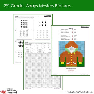 Grade 2 Arrays Mystery Pictures Coloring Worksheets Sample 1