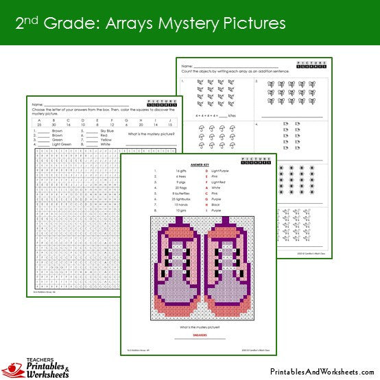Grade 2 Arrays Mystery Pictures Coloring Worksheets Sample 2