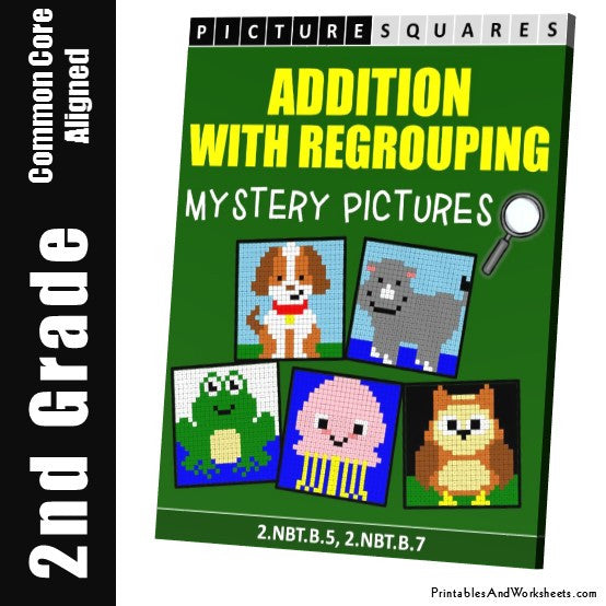 Grade 2 Addition with Regrouping Mystery Pictures Coloring Worksheets