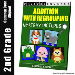 2nd Grade Addition With Regrouping Mystery Pictures Coloring Worksheets