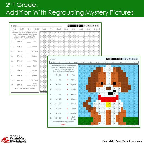 Grade 2 Addition with Regrouping Mystery Pictures Coloring Worksheets Sample 1