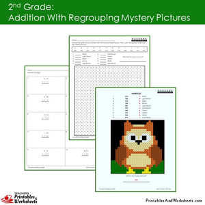 Grade 2 Addition with Regrouping Mystery Pictures Coloring Worksheets Sample 2