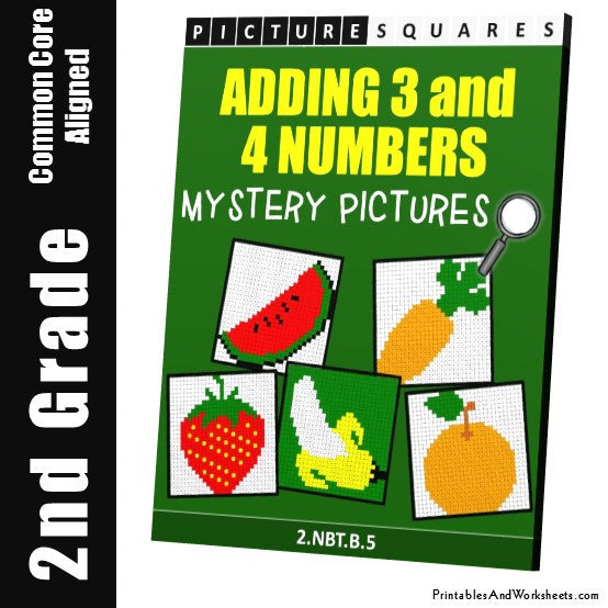 Grade 2 Adding 3-4 Numbers Mystery Pictures Coloring Worksheets