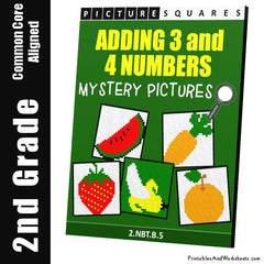 2nd Grade Adding 3 to 4 Numbers Mystery Pictures Coloring Worksheets