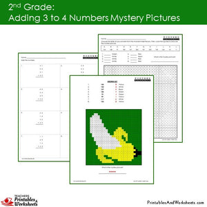 Grade 2 Adding 3-4 Numbers Mystery Pictures Coloring Worksheets Sample 1