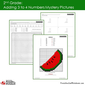 Grade 2 Adding 3-4 Numbers Mystery Pictures Coloring Worksheets Sample 2