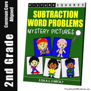 Grade 2 Subtraction Word Problems Mystery Pictures Coloring Worksheets