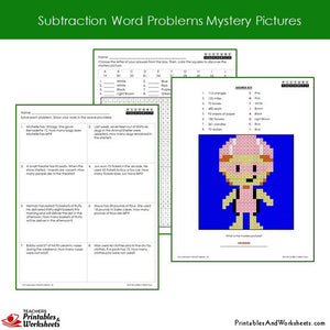 Grade 2 Subtraction Word Problems Coloring Worksheets Sample 1