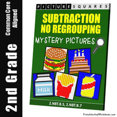 2nd Grade Subtraction Without Regrouping Mystery Pictures Coloring Worksheets