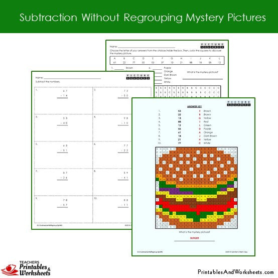 Grade 2 Subtraction Without Regrouping Coloring Worksheets Sample 1