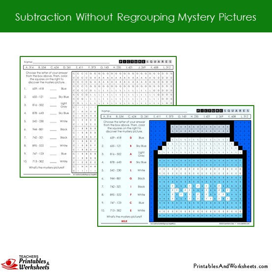 Grade 2 Subtraction Without Regrouping Coloring Worksheets Sample 2