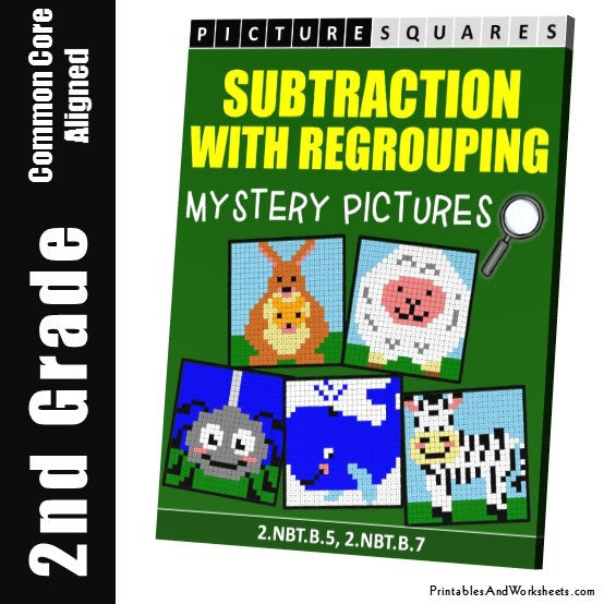 Grade 2 Subtraction With Regrouping Mystery Pictures Coloring Worksheets