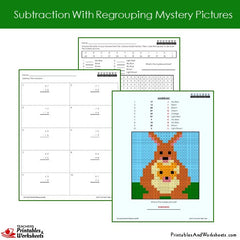 2nd Grade Subtraction With Regrouping Mystery Pictures Coloring Worksheets