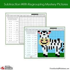 2nd grade subtraction with regrouping coloring worksheets