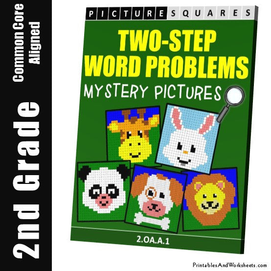 Grade 2 Two Step Word Problems Mystery Pictures Coloring Worksheets