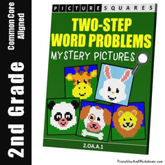 2nd Grade Two Step Word Problems Mystery Pictures Coloring Worksheets