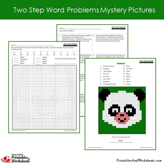 Grade 2 Two Step Word Problems Coloring Worksheets Sample 2