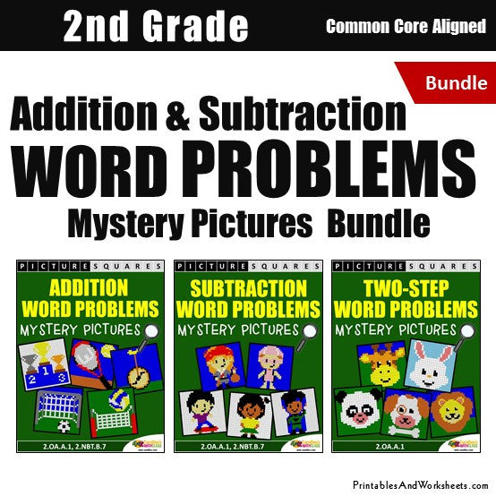 Grade 2 Addition and Subtraction Word Problems Mystery Pictures Coloring Worksheets