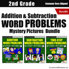 2nd Grade Addition and Subtraction Word Problems Mystery Pictures Coloring Worksheets Bundle