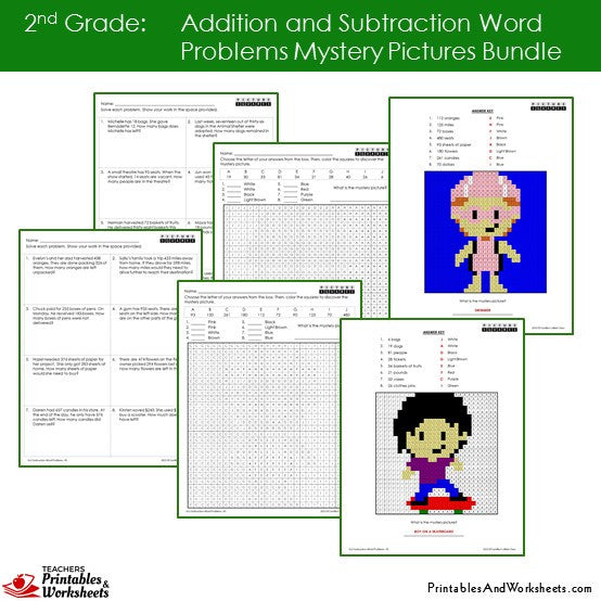 math worksheet : 2nd grade addition and subtraction word problems coloring  : Subtraction Mystery Picture Worksheet