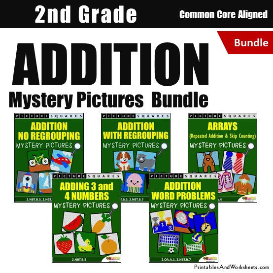 Grade 2 Addition Mystery Pictures Coloring Worksheets Bundle