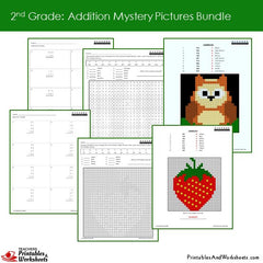 2nd Grade Addition Mystery Pictures Coloring Worksheets Bundle