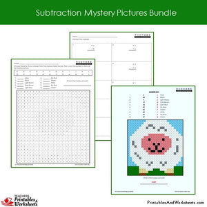 Grade 2 Subtraction Mystery Pictures Coloring Worksheets Sample 1