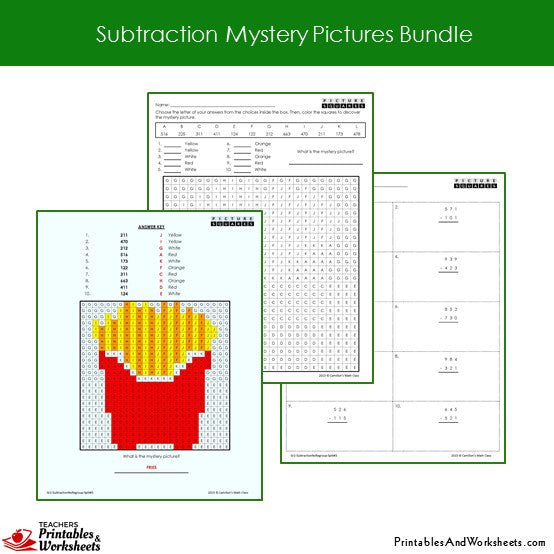 Grade 2 Subtraction Mystery Pictures Coloring Worksheets Sample 2